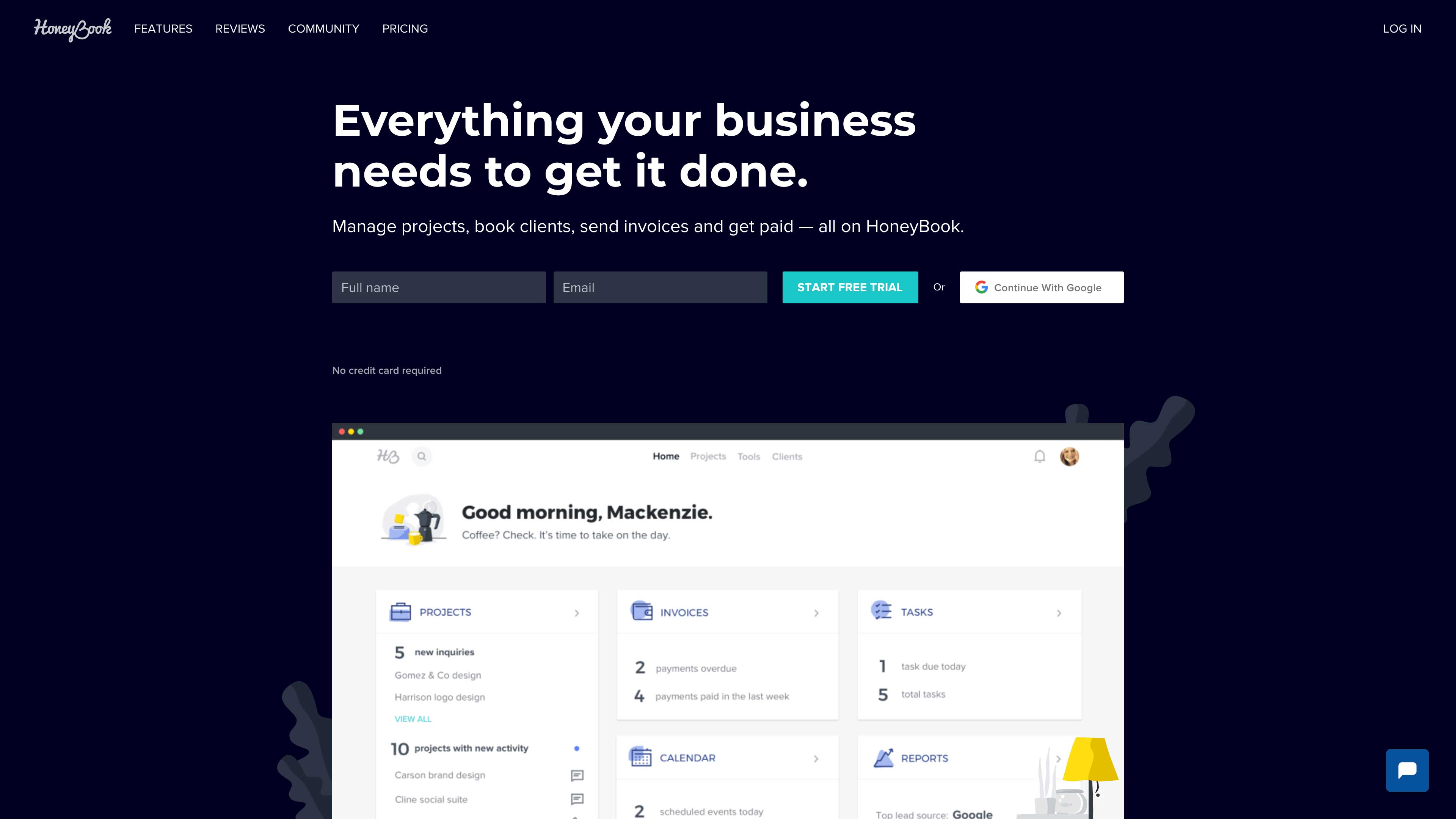 HoneyBook website.