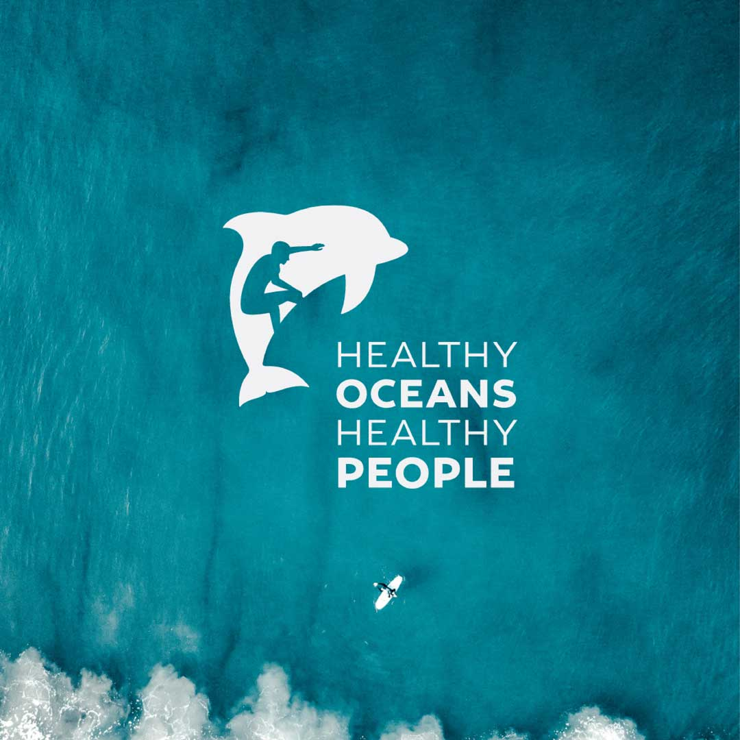 Modern figure ground logo design incorporating a dolphin and a surfer for California based non profit organization Healthy Oceans, Healthy People.