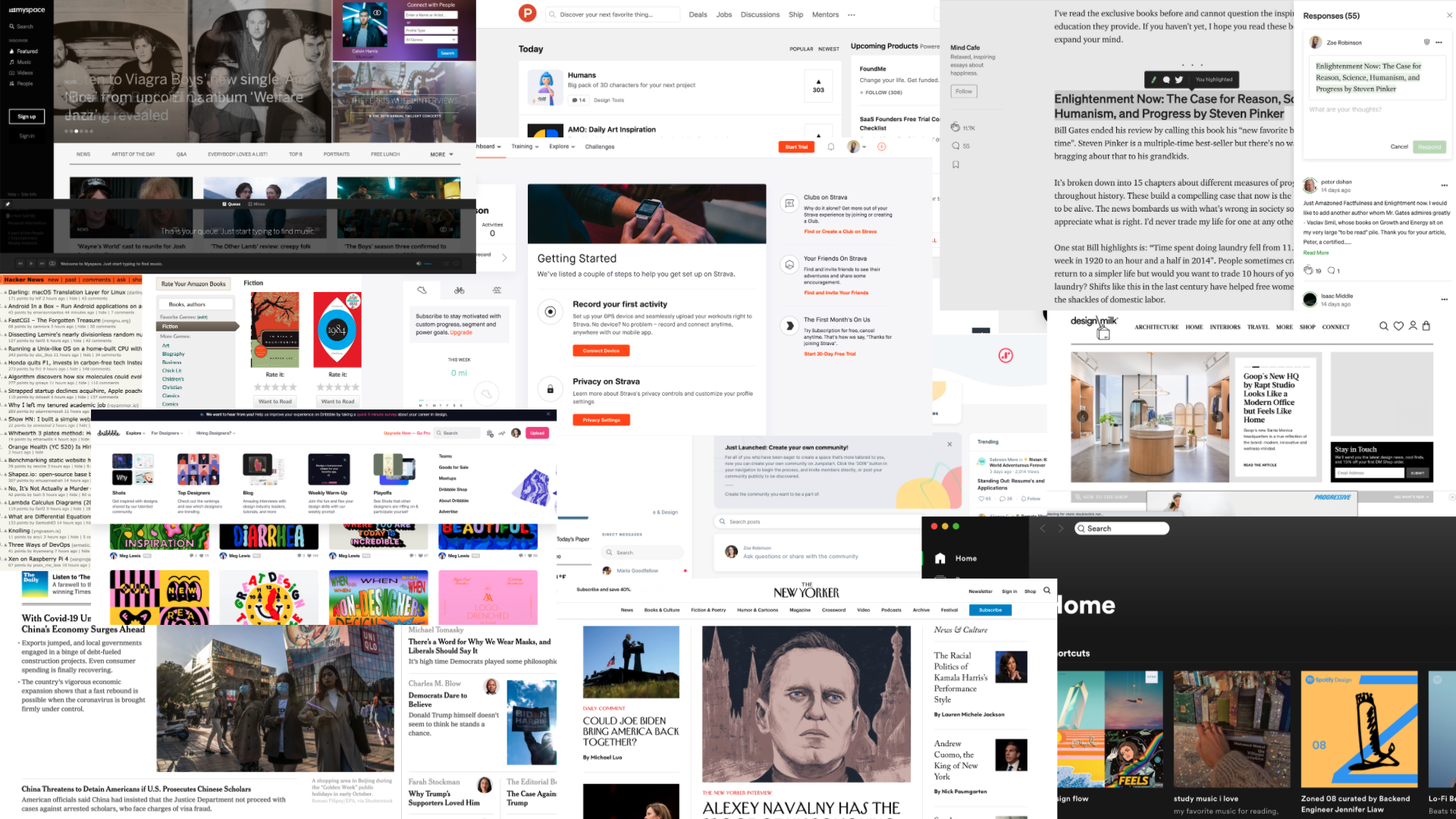 A montage of multiple social media sites.