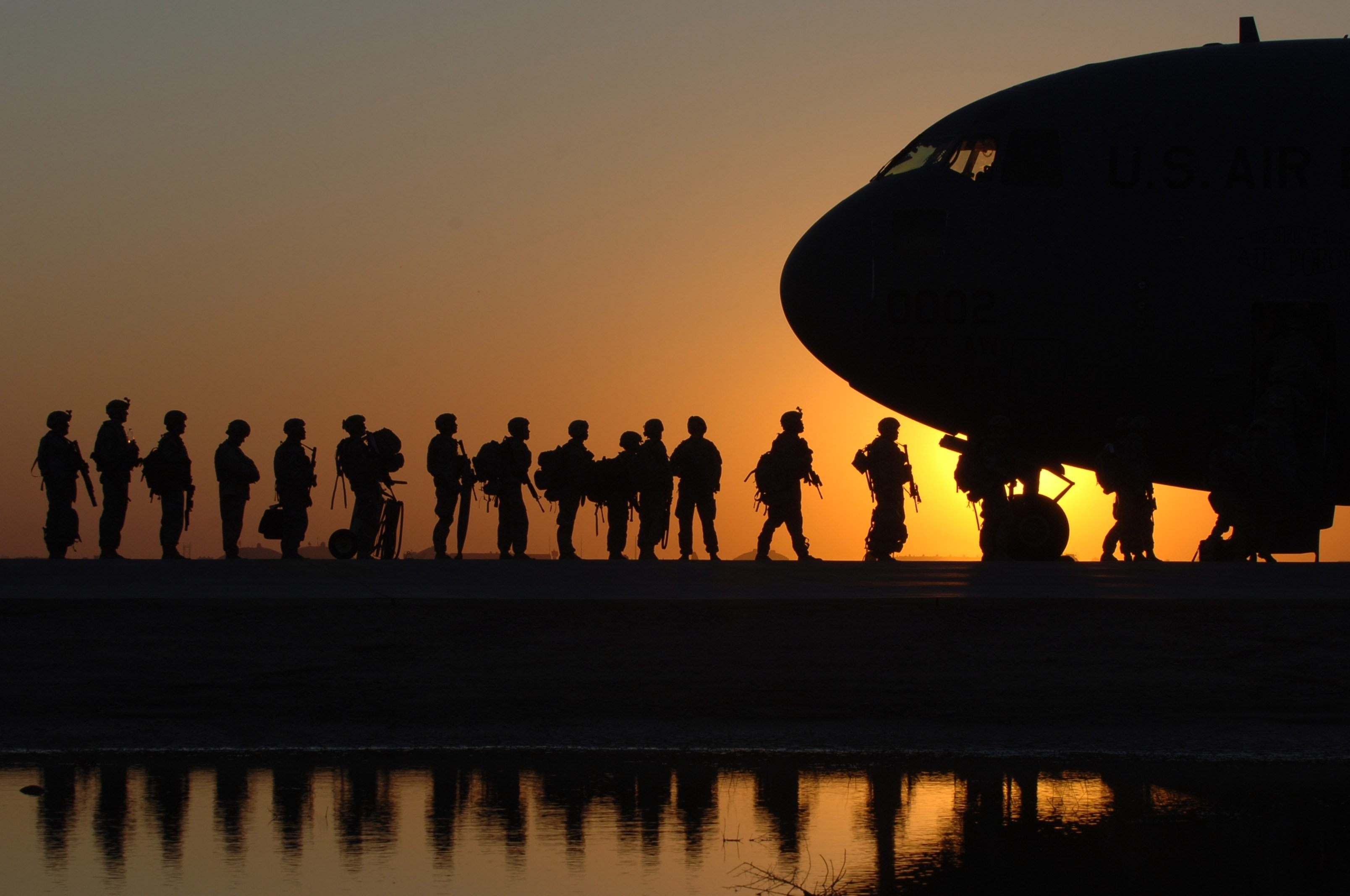 Soldiers and airplane
