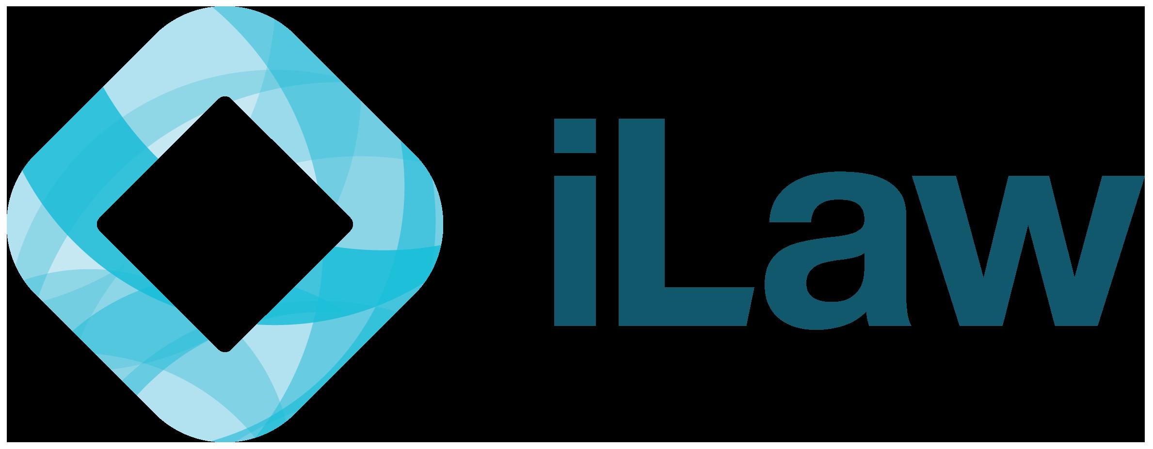 ILaw Logo blue text, transparent background