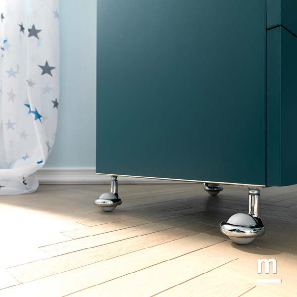Ruote One per comodino con 2 Wallbox push-pull laccati pavone