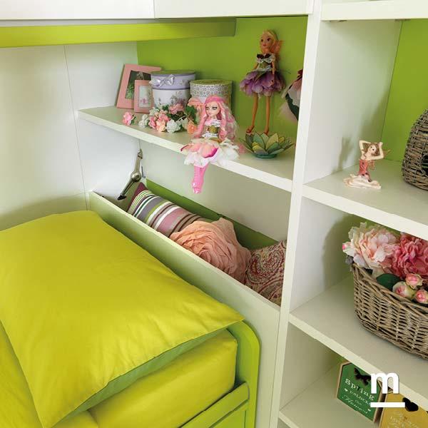 Testata del letto con porta cuscini apribile bianco frassino e verde