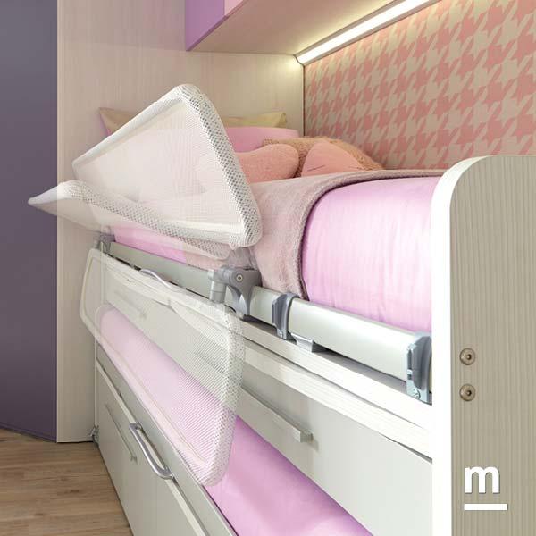 Protezione rovesciabile Web Split per letto superiore in tessuto bianco