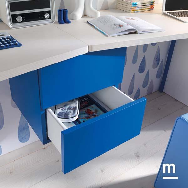 Wallbox sospeso sotto scrivania con 2 cassetti push-pull laccati blu