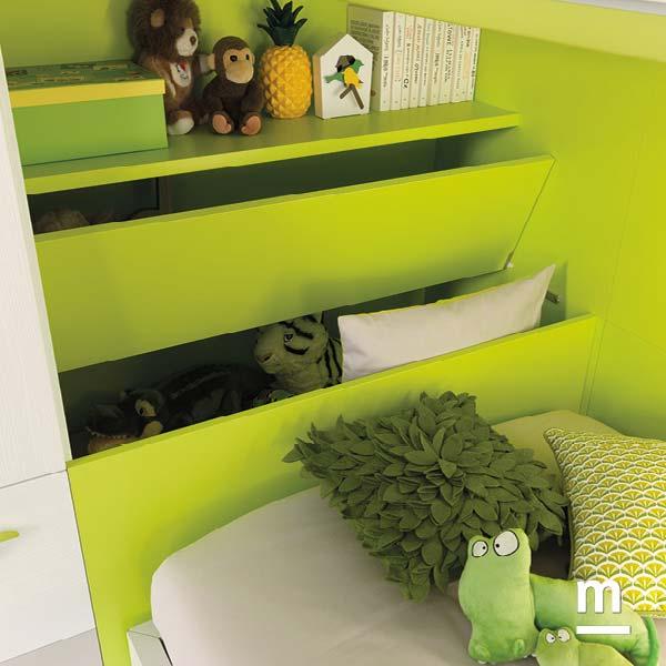 Contenitore apribile per la testata del letto laccato verde cedro