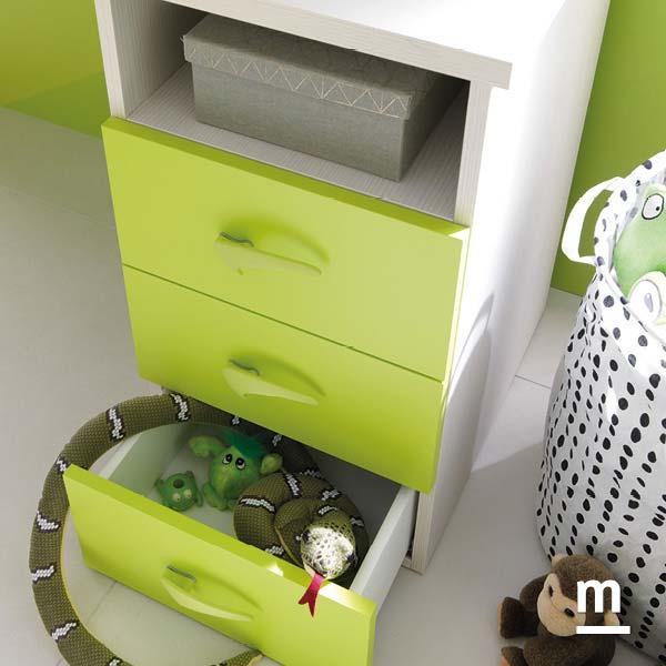 Supporto cassettiera per scrivania con 3 cassetti verdi e vano a giorno betulla