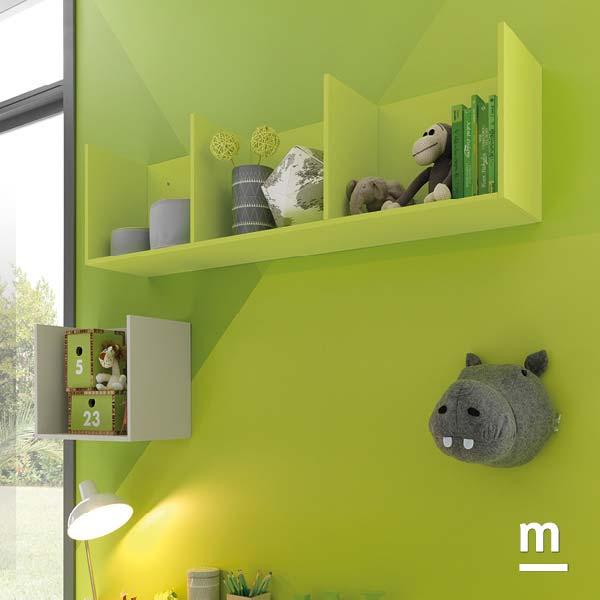 Contenitori pensili CubiBox laccati verde cedro per arredare la zona studio sopra la scrivania