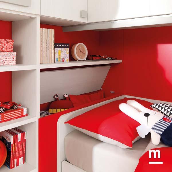 Contenitore apribile porta cuscini per la testata del letto laccato rosso ciliegia