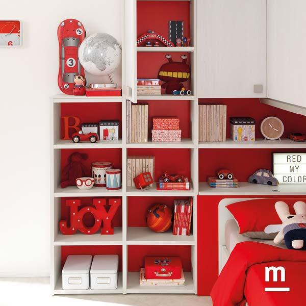 Libreria Outline bianca e rossa profondità 32 cm con vani a giorno e schiene rosse