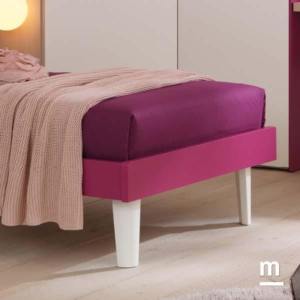Supporti del letto King laccati bianco per il letto singolo Start con giroletto Slim