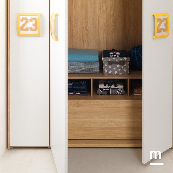 Interno dell'armadio con 2 cassetti Push-Pull e modulo alveare olmo