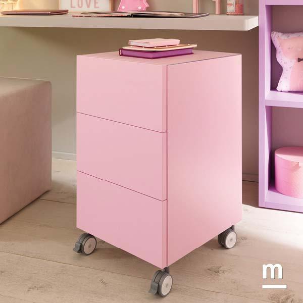 Cassettiera con 3 cassetti ad apertura push pull con ruote di supporto laccata rosa cipria
