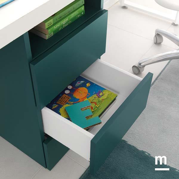 Cassettiera di supporto per scrivania con 3 cassetti push-pull laccati pavone e vano a giorno
