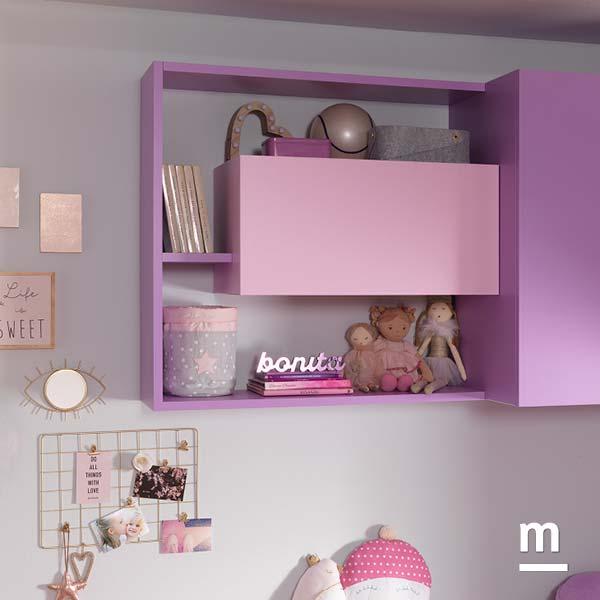 Wallbox con apertura push pull e anta basculante inserito nella composizione a parete libreria Flexa