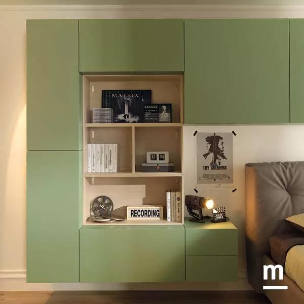 Composizione di Wallbox sospesi laccati verde flora con apertura push-pull con cassetti e ante
