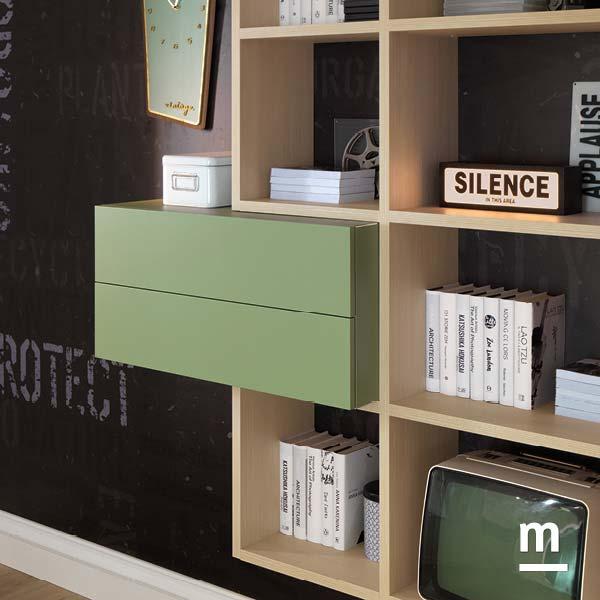 Wallbox verde flora con 2 cassetti ad apertura push-pull inseriti in una composizione della libreria Outline