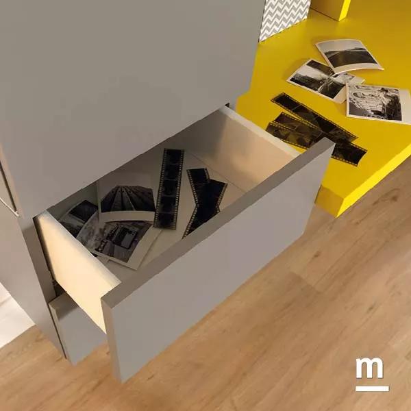 Wallbox push-pull con cassetti per attrezzare la zona studio e la scrivania