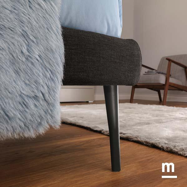 supporto del letto con i piedini metallici heel laccati grafite