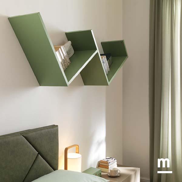 libreria a parete dedalo moderna laccata verde flora