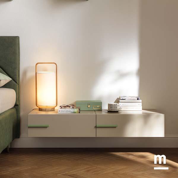 comodini moderni sospesi wallbox con maniglia laccati nocciola e flora