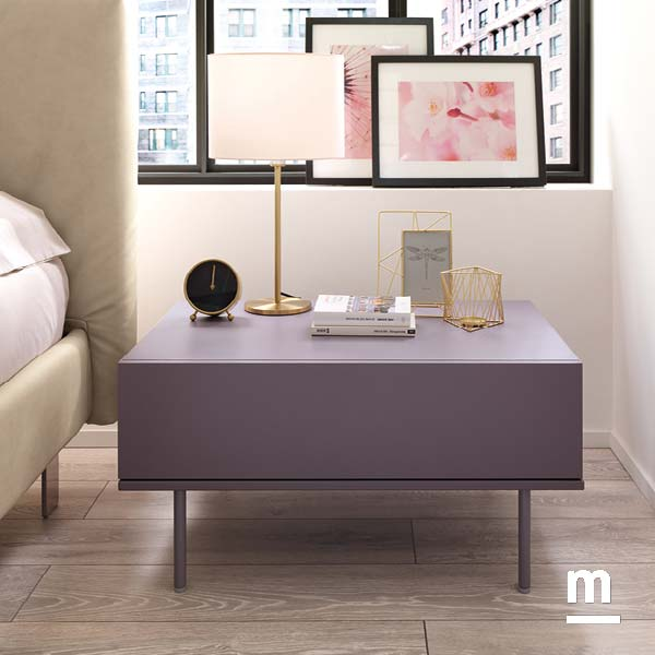 comodino wallbox laccato mora con 1 cassetto e supporto metallico color mora