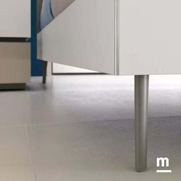 supporto del letto in alluminio cromato heel e giroletto in legno con profilo in alluminio