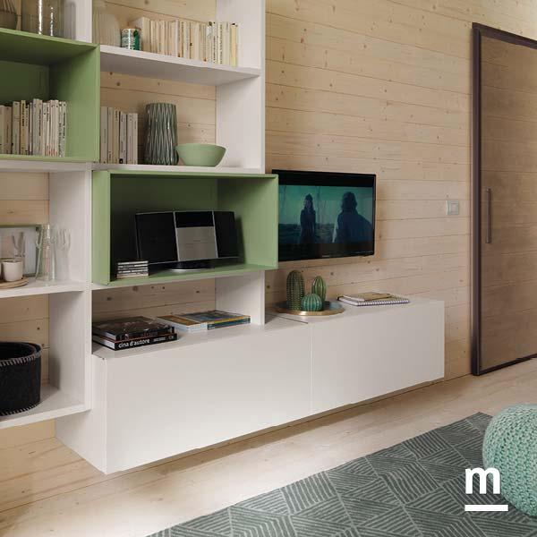 wallbox a giorno laccati flora e base tv sospesa con cestoni betulla