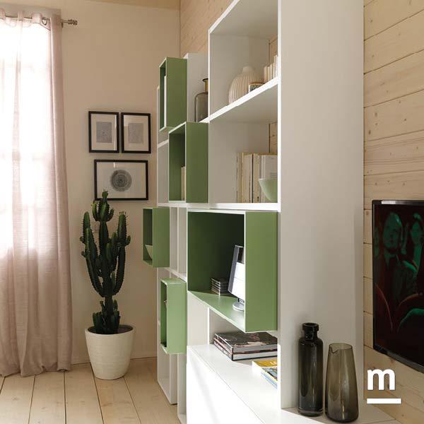 libreria outline da soggiorno con wallbox laccati verde flora a incastro