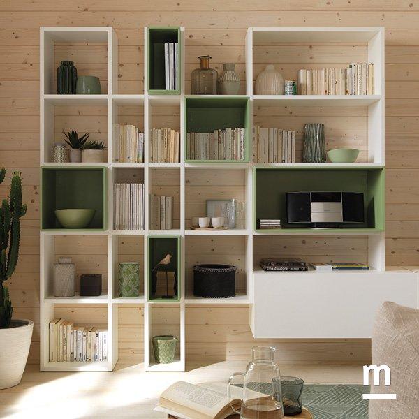 libreria outline da appoggio per living con wallbox laccati flora di profondità a contrasto