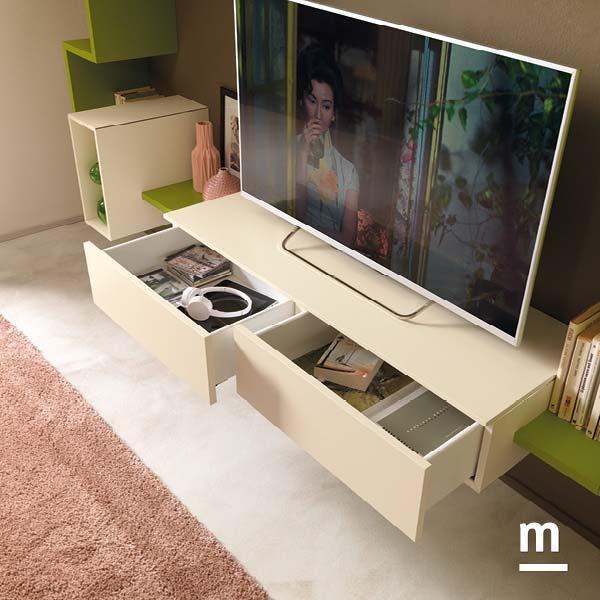 base porta tv da soggiorno sospesa con wallbox con cestoni e apertura push-pull