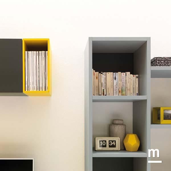 wallbox a giorno laccato senape con profilo cromato in alluminio e libreria outline con schiene grafite