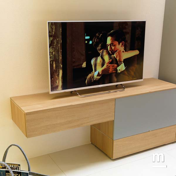 base tv con wallbox con cassetti e top range in essenza olmo spessore 12