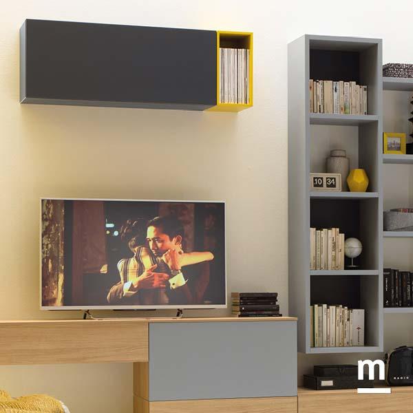 libreria outline sospesa e wallbox per la zona living e la base tv