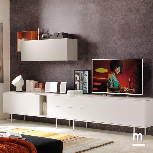 madia da soggiorno moderna bianca con cassetti e supporto in metallo bianco