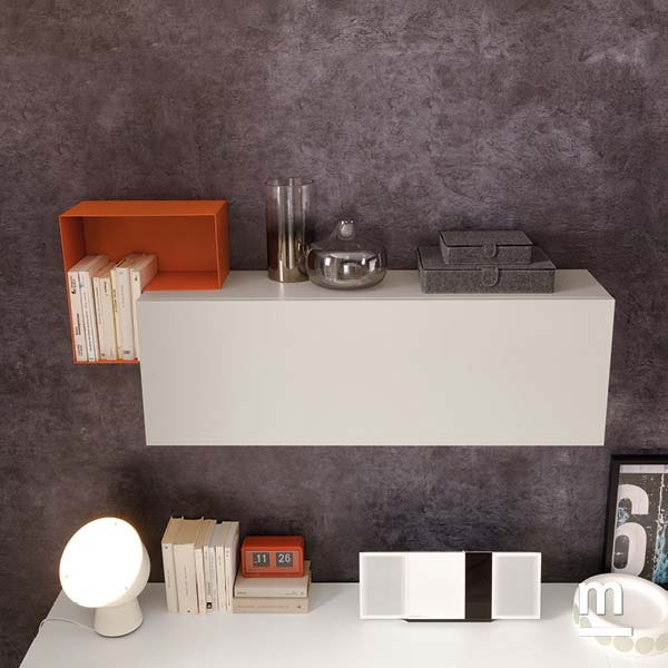 l-box decorativo laccato mattone e wallbox sospeso con anta laccato bianco