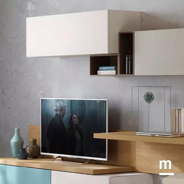 wallbox a giorno e con anta con diverse profondità e base porta tv con top spessore 40