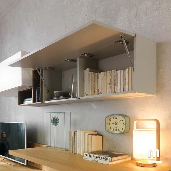 wallbox sospeso con anta basculante laccato corda e wallbox a giorno decorativi