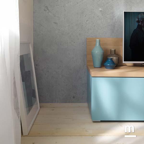 base porta tv con top in olmo e wallbox laccato cielo con cestone capiente