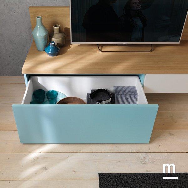 base tv con wallbox con cestoni e cassetti portaoggetti