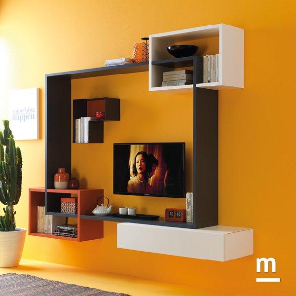 soggiorno moderno sospeso con libreria flexa e gioco di incastri con wallbox