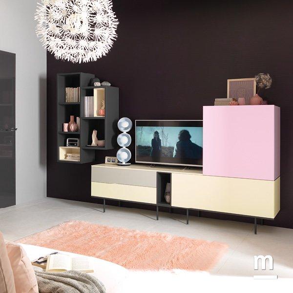 madia da soggiorno moderna con supporto metallico e libreria outline sospesa