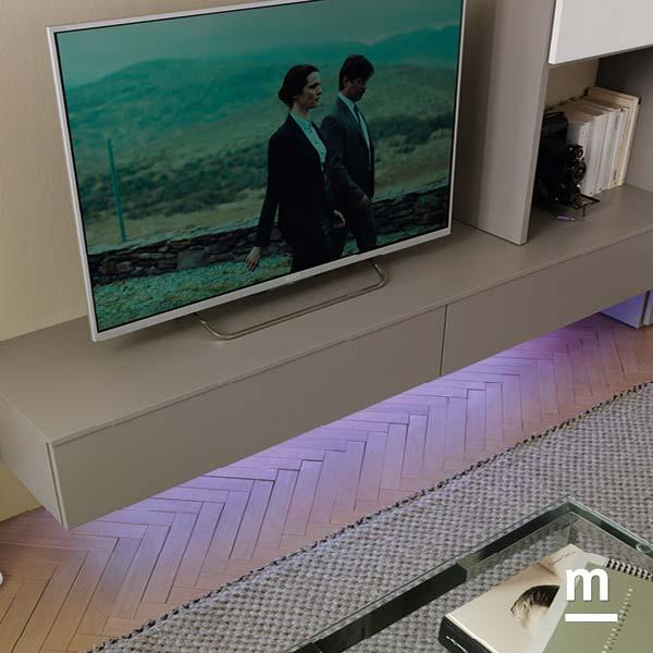 base per tv sospesa con illuminazione con faretti a led