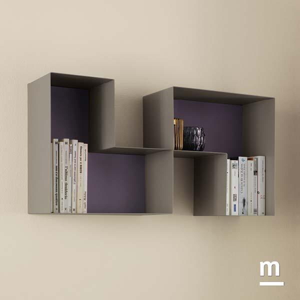 l-box metallici decorativi con schiena mora e laccatura tabacco