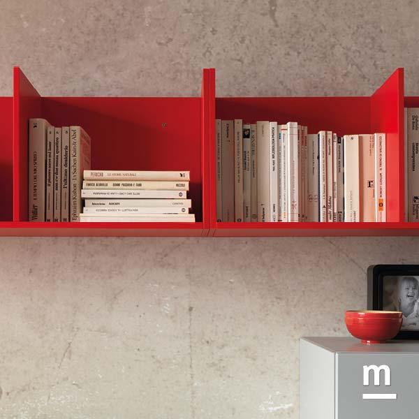 cubibox sospesi laccati rosso ciliegia porta libri e portaoggetti