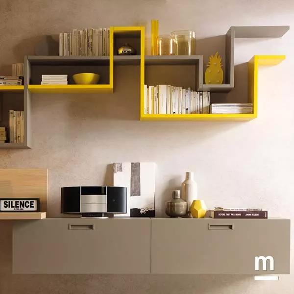 libreria moderna da soggiorno flexa laccata senape e tabacco con wallbox sospesi
