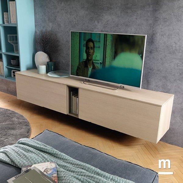 base tv sospesa con 2 wallbox con anta a ribalta e wallbox centrale a giorno in essenza larice