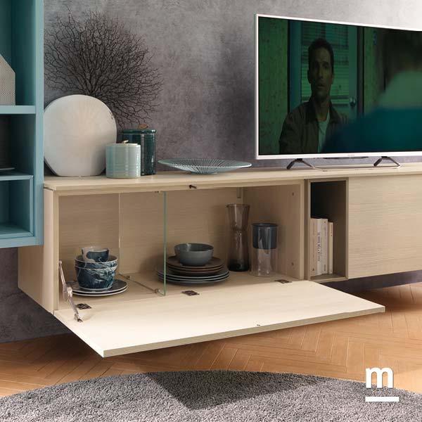 dettaglio interno del wallbox per base tv con divisore in vetro e anta a ribalta