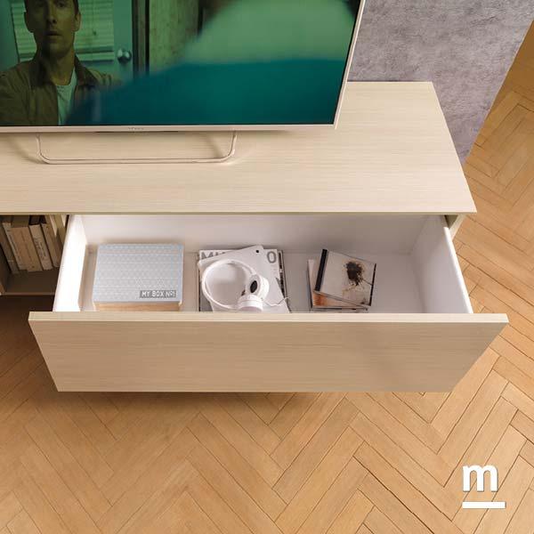 wallbox per base tv con cestone in essenza larice e top spessore 12 mm