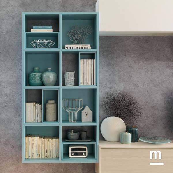 libreria sospesa da soggiorno con struttura laccata cielo e wallbox a giorno a incastro